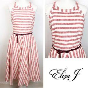 Eliza J Red Cream Stripe Fit Flare Halter Neck 8